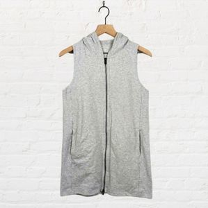 Eileen Fisher Long Hooded Zip Up Vest